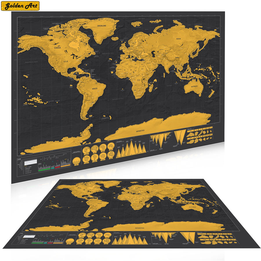 Deluxe Scratch World Map/ Poster/ Wall Sticker ,42x30cm