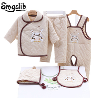 Smgslib Baby Girl Clothes Winter Autumn Cartoon Print Cotton Suit Children Infant Boy Clothing Casual Tracksuits