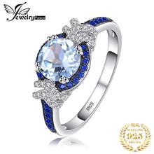 JewelryPalace Wedding Ring Women 925 Sterling Silver 1.95ct Genuine Sky Blue Topaz Created Blue Spinel Gemstone Rings Engagement цена в Москве и Питере