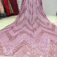 Hot sale french sequence lace New style Lovely pink sequin lace fabric for party dress tulle net lace fabric HJ742 2