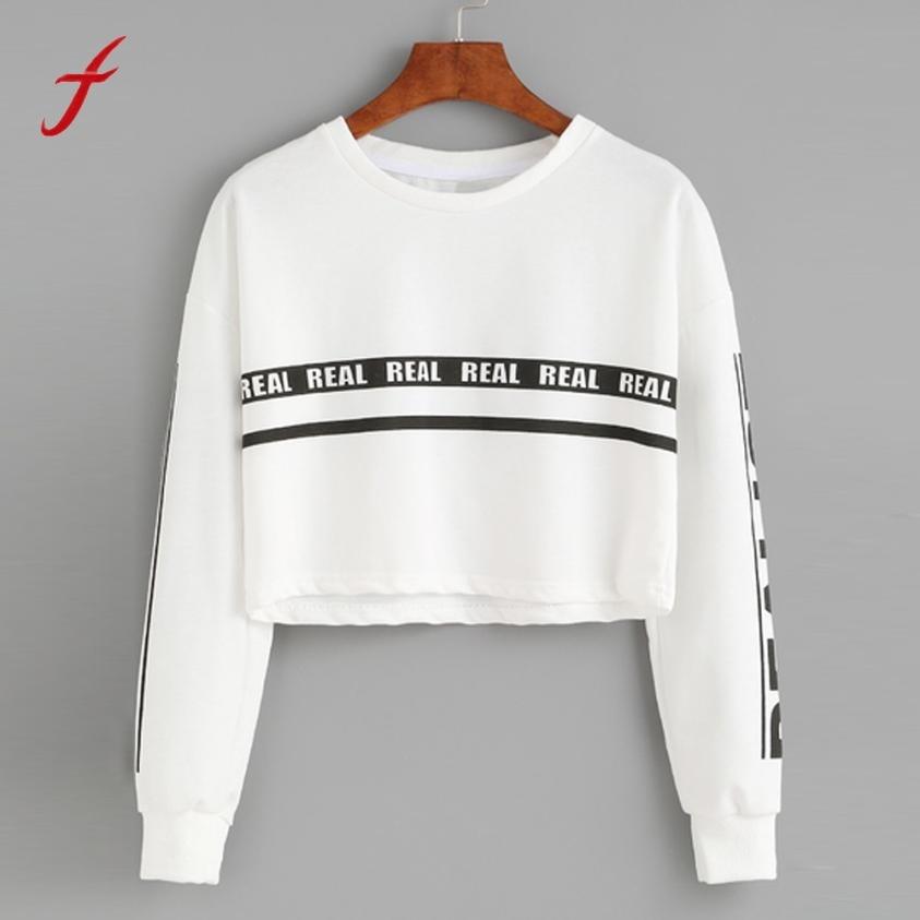 Women Blouses Summer 2017 Ladies Fashion White Letter Print Crop Sweatshirt Top Blouse High Quality Causal Streetwear Blouses blouse