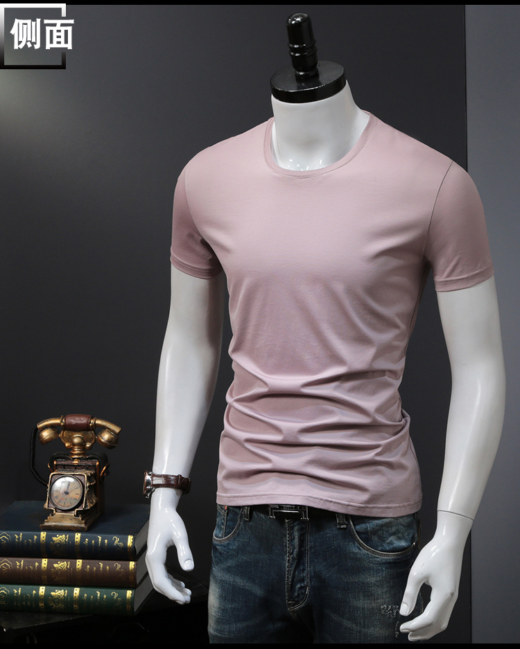 T-shirts Solid Color Man Casual camiseta homme t shirts Male Top Tees Summer (11)