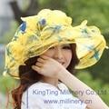 Envío gratis moda elegante nuevas mujeres del Organza del sombrero del verano Organza boda de la tela del vestido del verano vestido Flower Wave Brim