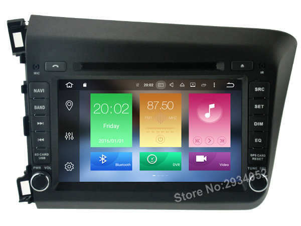 FOR HONDA CIVIC 2012 Android 8 0 Car DVD player Octa Core 8Core 4G RAM 1080P