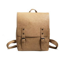 купить Women Backpack Large School Bags For Teenage Girls Shoulder Bag Vintage PU Leather Backpacks Black Casual Solid Rucksack daypack дешево