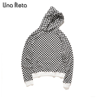 Una Reta Plaid Oversized Hoodie Men Brand Design New Fashion Casual Pullover Hip Hop Sweatshirts Men