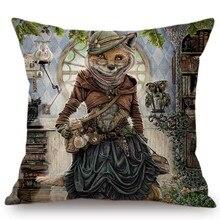 Сказка Алиса в стране чудес милый Животные лиса зайчик Сова Арт Декоративные подушки Для детей комнаты декоративная диванная подушка крышка