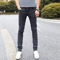 Estilos de Designer Da Marca de Moda Ocasional Elástico Reta Calças Skinny Slim calças de Brim Cabidas Cônico Jean Cintura Alta para Homens rtls rwy802