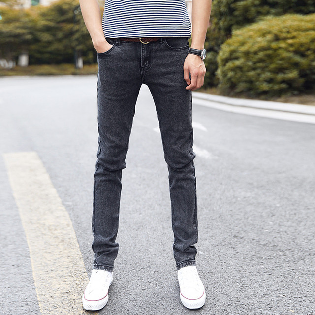 e36944db67 Estilos de diseño de Marca de Moda Elástico Flaco Delgado Equipado Vaqueros  Rectos Ocasionales Pantalones Cónicos