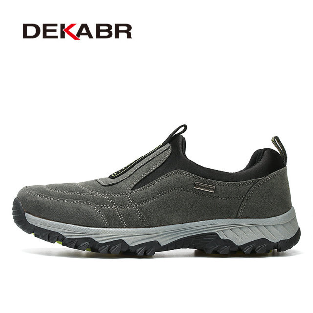 DEKABR Real Leather Outdoor Shoes Men Sports Hiking Shoes Trainers Climbing Trekking Shoes Slip On Hiking Shoes Big Size 39~45
