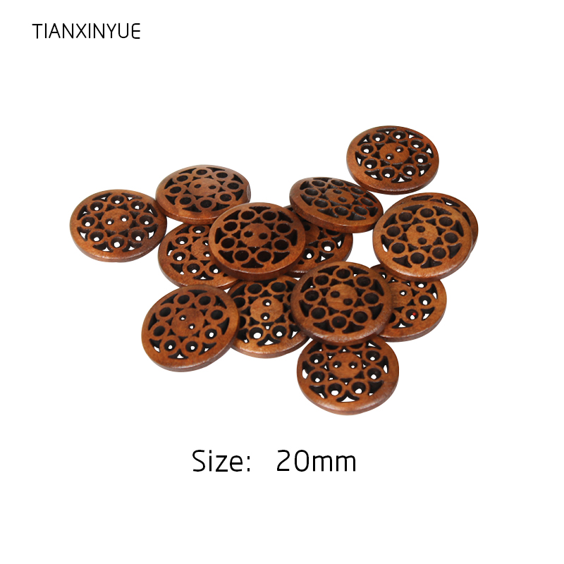 DIY 30 pcs 2-Holes Wooden Round Sewing Buttons For Sewing Clothing Accessories