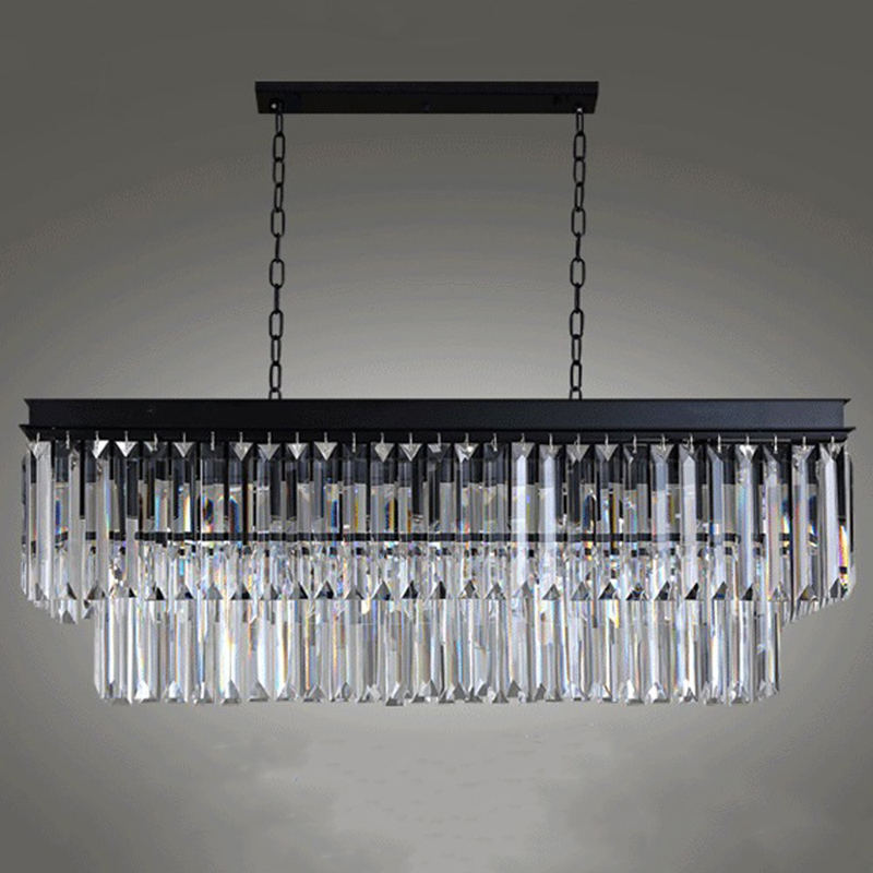 Modern Contemporary Rectangle Loft Suspension Hanging Light Lighting Fixture Crystal Ceiling Lamp for Dining Room