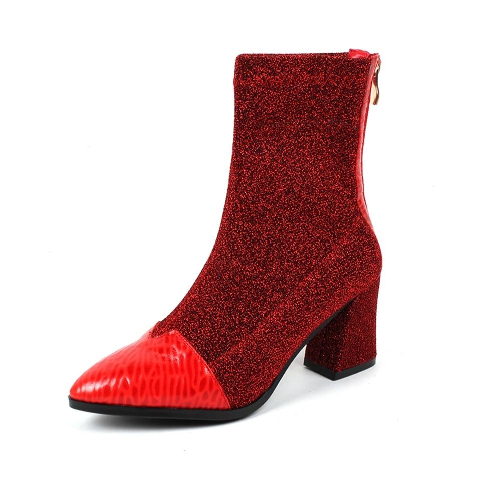 Short Hiver Rouge Noir black 34 Automne Plush Et red Femmes De Chaussures Noir Plush Bottes Tissu Confortable Doublure Mode Qualité 2018 42 rouge Stretch Taille qActH7WOR