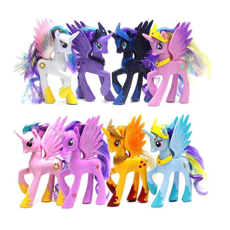 14cm Horse Action Figures Friendship Is Magic Rainbow Dash unicorn Princess Celestia toy dolls Miniatures For Girls kids toys