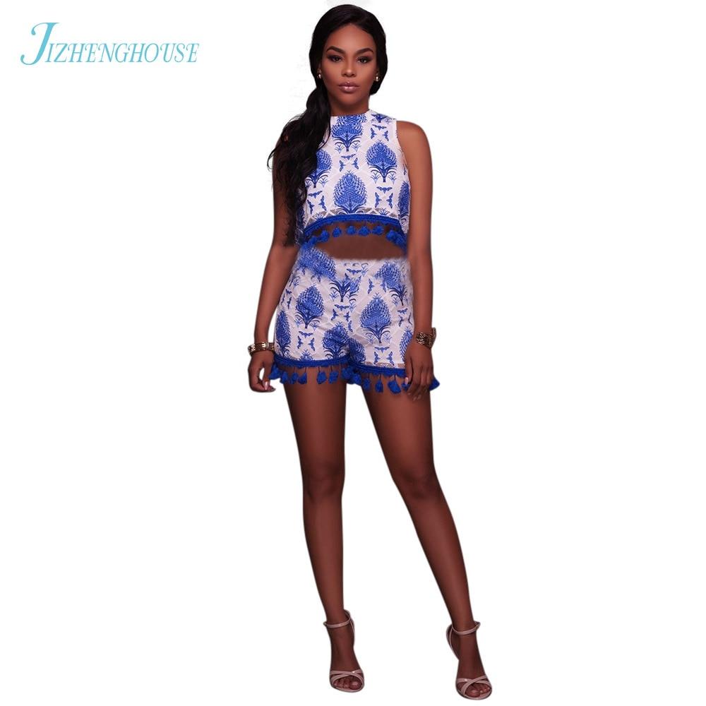 JIZHENGHOUSE Summer Sexy Fresh Design Short Pants Playsuits Fashion Special Print Lace Women Clothes Set