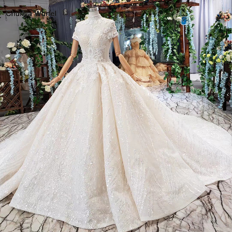 HTL518 Princess Wedding Dress High Neck Flowers Short Sleeves Button Illusion Wedding Gown With Train Vestidos De Novia Vintage
