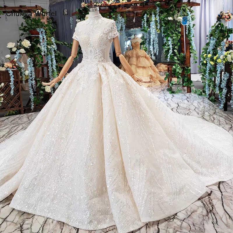 HTL518 princesa vestido de boda de cuello alto flores manga corta botón ilusión vestido de boda con tren vestidos de noche vintage