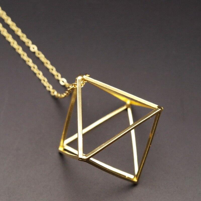 2016 divat arany / ezüst / fekete réz 3d geometriai rombusz alakú hamis gallér nyaklánc medál nők ékszer gallér bijoux