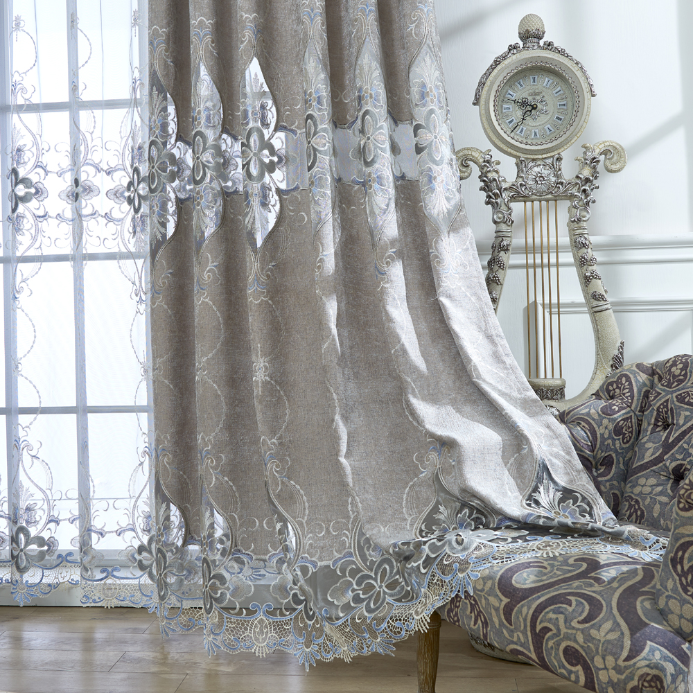 Embroidered European Grey Royal Luxury Curtains for Bedroom Window Curtains for Living Room Elegant Drapes Curtains Tulle|Curtains| |  - title=