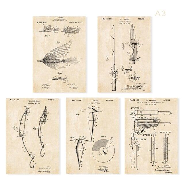 Vintage patent art fishing floating fly baiter bobber hooker Rod and fish measure tape art prints   5 in 1 for wall frame