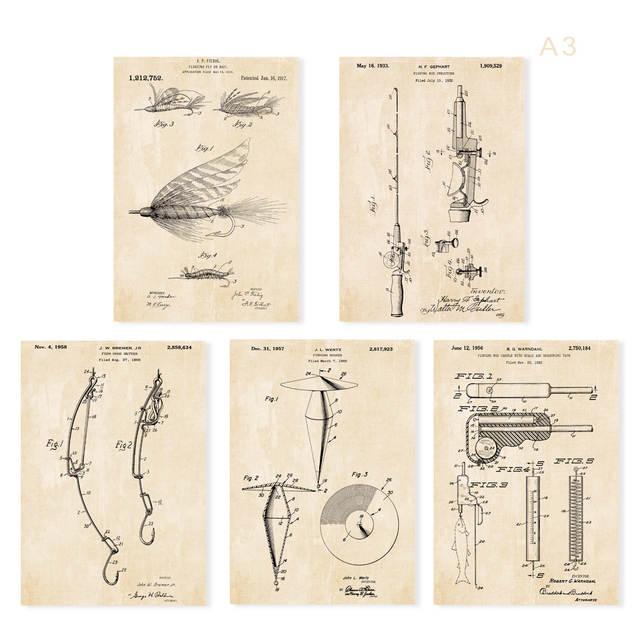 placeholder Vintage patent art fishing floating fly baiter bobber hooker  Rod and fish measure tape art prints