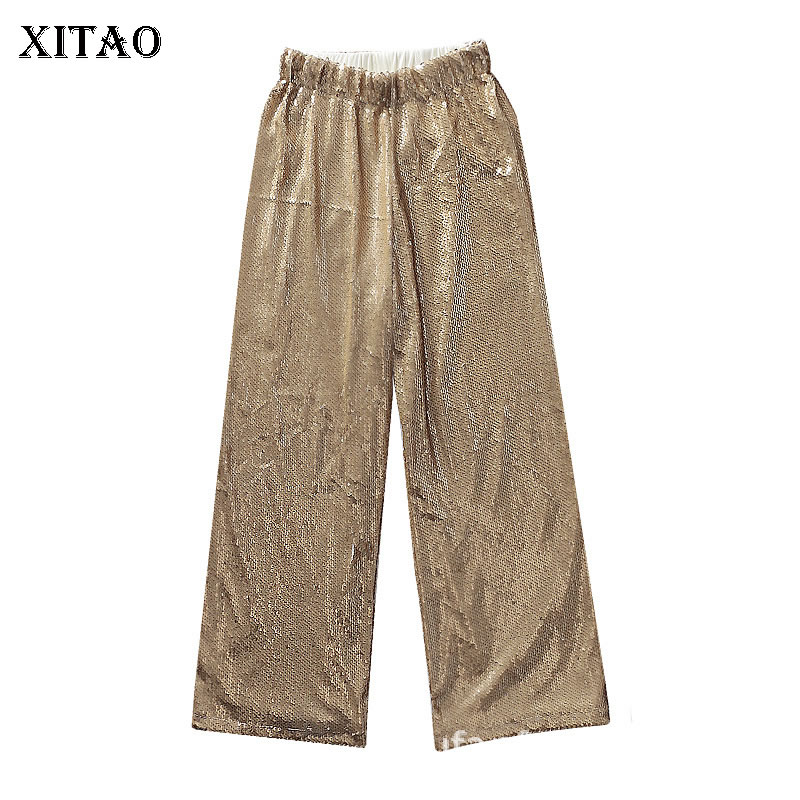 [XITAO] Women 2019 Spring Summer Europe Fashion Casual Full Length   Pants   Female Solid Color Sequined   Wide     leg     Pants   WBB2932