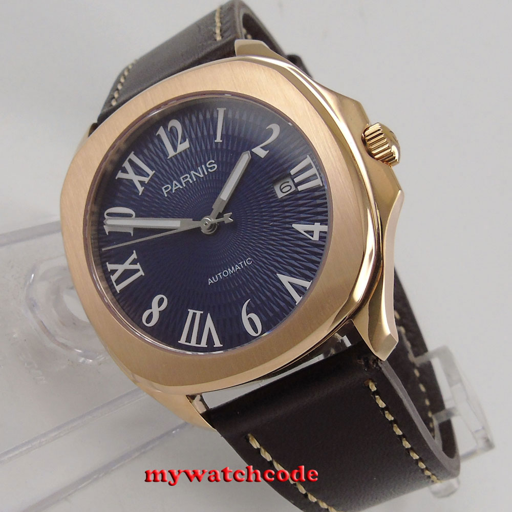 40mm Parnis blue dial Sapphire rose golden case Miyota automatic mens watch P891 japan miyota 40mm pvd case parnis men s watch