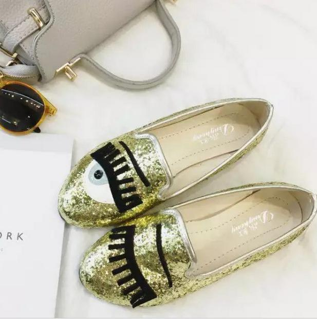 La nueva primavera y el verano 2016 marea Euramerican grandes de la moda con la pestaña de Lentejuelas de tela de la boca baja escoge los zapatos redondos