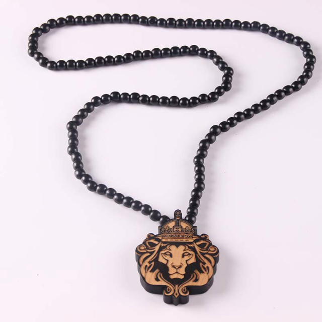 Animal laser engraved pendant wooden bead necklace solid wood lion animal laser engraved pendant wooden bead necklace solid wood lion pendant hiphop necklace x 1 aloadofball Gallery