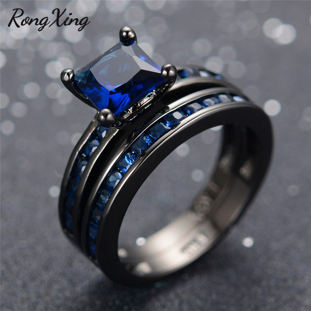 rongxing charming blue zircon wedding ring set vintage fashion black gold filled september birthstone bridal double - Black Gold Wedding Ring Sets