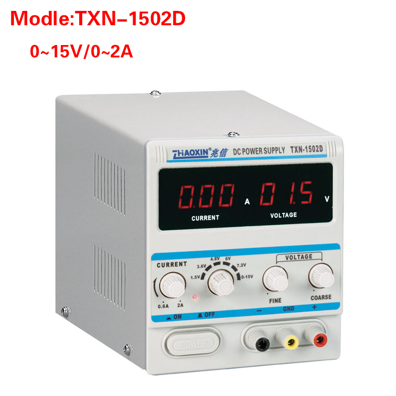 все цены на ZHAOXIN TXN-1502D Adjustable DC Power Supply 0-15V 0-2A Power Cable Digital for Mobile Phone Repair Power онлайн