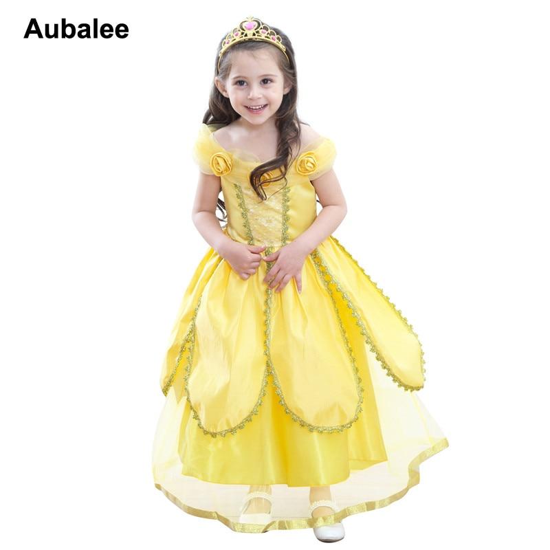 2018 Girls Summer Beauty Beast Belle Princess Casual Dress Cartoon Kids Yellow Fancy Dress Children Party Wedding Aurora Dress