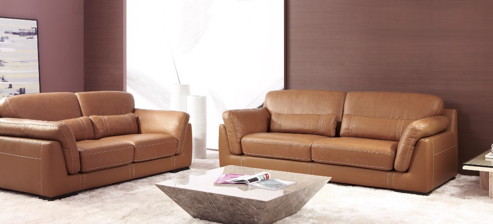 Cow genuine real leather sofa set living room sofa for Living room with leather sectional