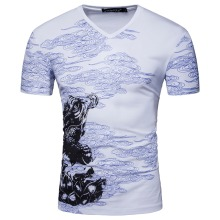 Men Short White Black Sleeve V Neck Print Cloud Chines Style T Shirt Summer Fashion Grey Black Slim Cotton T Shirt S-XXL D054