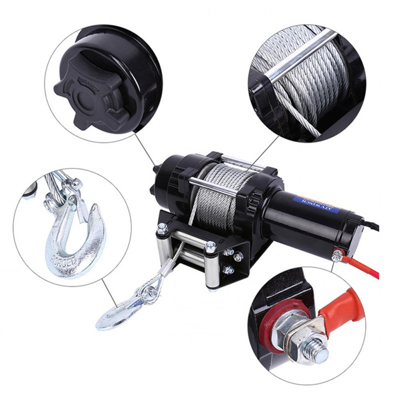 Free Shipping For RU Electric 4000lb Car Winch 12V ATV Winch Towing Cables Pull Kit Remote Control Set Permanent Magnet