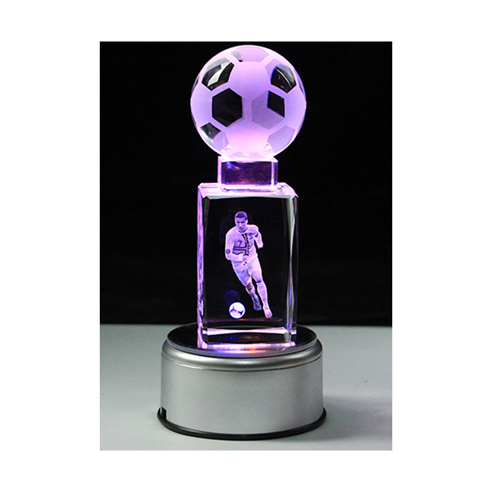 3D Soccers Laser Engraved Quartz Crystal Glass Led Light Cube Figurines Crystals Miniaturas Football Fans Souvenirs Soccer Gift