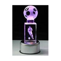 3D soccers Laser Engraved Quartz Crystal Glass led light Cube Figurines Crystals miniaturas Football Fans Souvenirs soccer gift