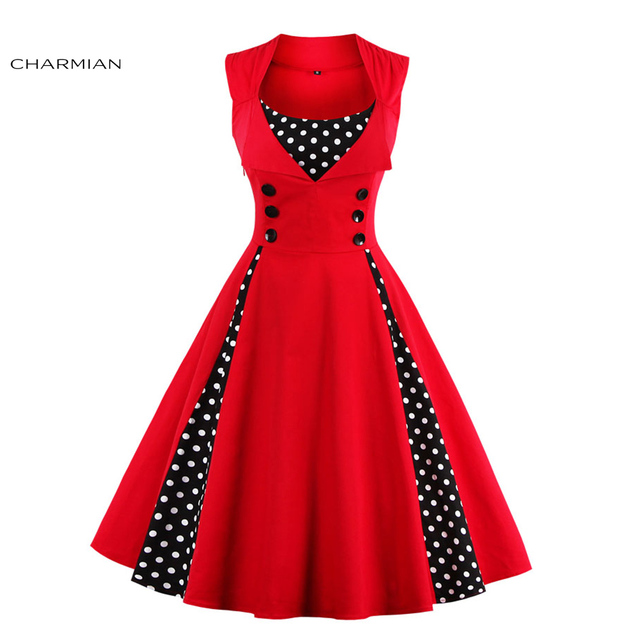 093cdd5a6 Charmian Sexy Summer Vintage Dress for Women Sleeveless Patchwork  Rockabilly Christmas Dress Casual Party Fashion Dress