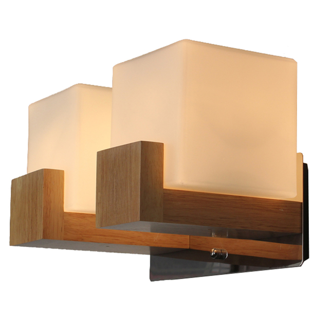 Contracted Anese Wooden Corridor Wall Lamp Chinese Bedroom Sconce Gl Cube Bedsides Stair Case Lighting Fixtures