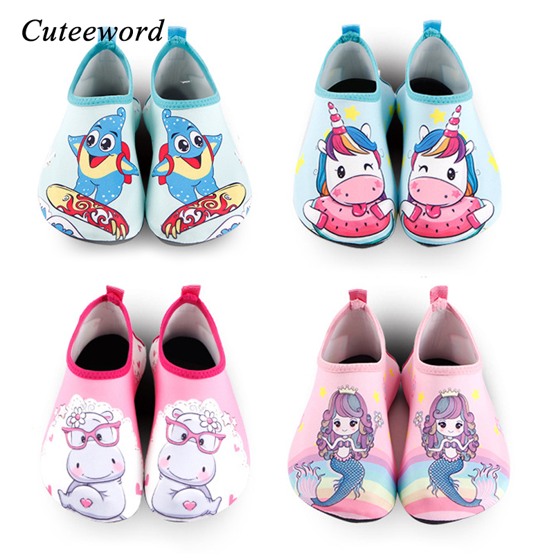 Cartoon Unicorn Kids Swimming Shoes Boys Girls Beach Shoes Slip Water Socks Barefoot Skin Care Light Children Home Shoes Flats