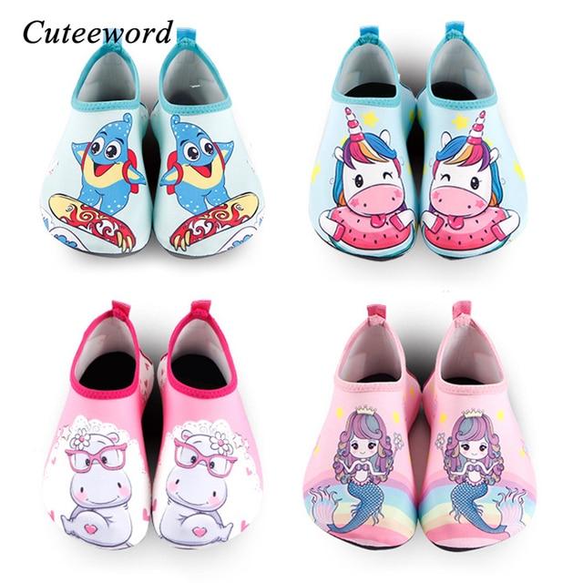 Cartoon Unicorn Kids Swimming Shoes Boys Girls Beach Shoes Slip Water Socks Barefoot Skin Care Light Children Home Shoes Flats