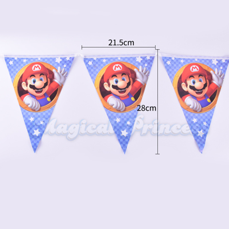 1set/lot Baby Shower Paper Flags Kids Favors Super Mario Theme Party Pennants Happy Birthday Bunting Decoration Hanging Banner