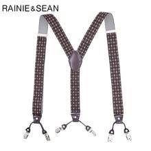 RAINIE SEAN Suspenders Men Print 6 Clips Plus Size 125cm Male Wedding Mens Braces For Trousers Shirt