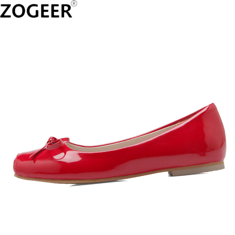 Plus Size 48 Fashion Flat Heel Shoes Woman Flats Spring Autumn Female Ballet Shoes Square Toe Solid Red Casual Work Shoes