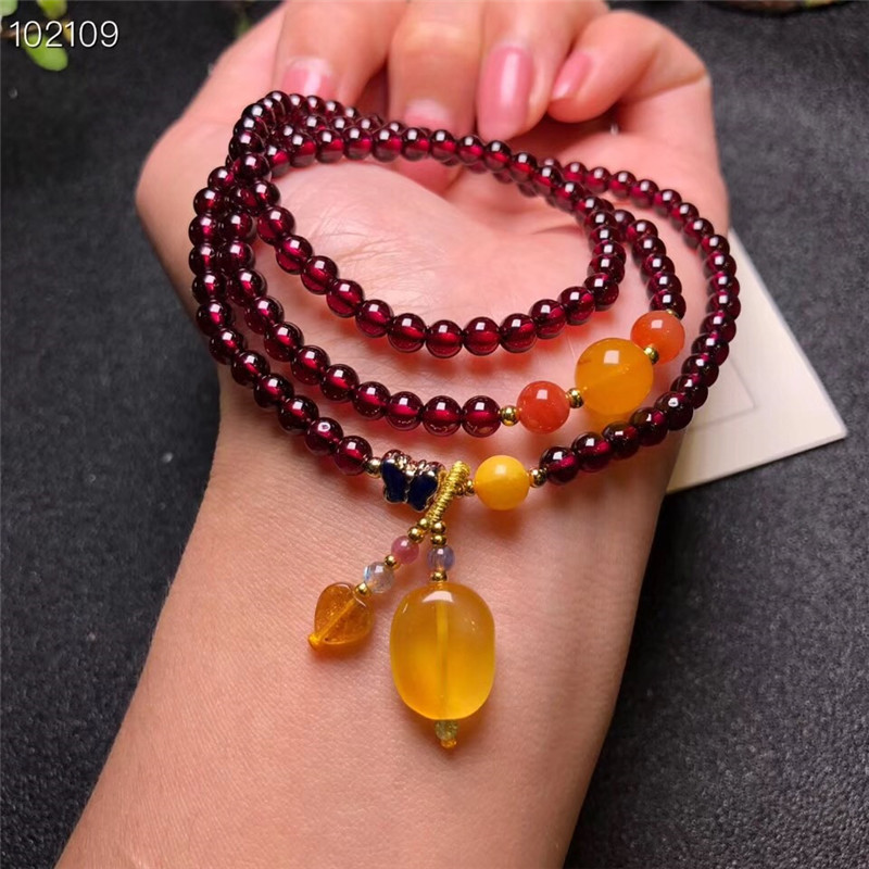 Wholesale Natural Garnet Stone Women Bracelet Fashion Jewelry with Natural amber pendant Free Shipping цена и фото