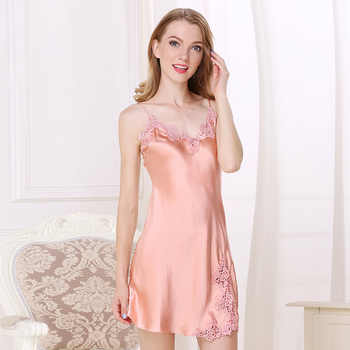 Summer silk sexy nightgowns women 100% pure silk pink spaghetti strap sleeveless women V-neck night dress for women
