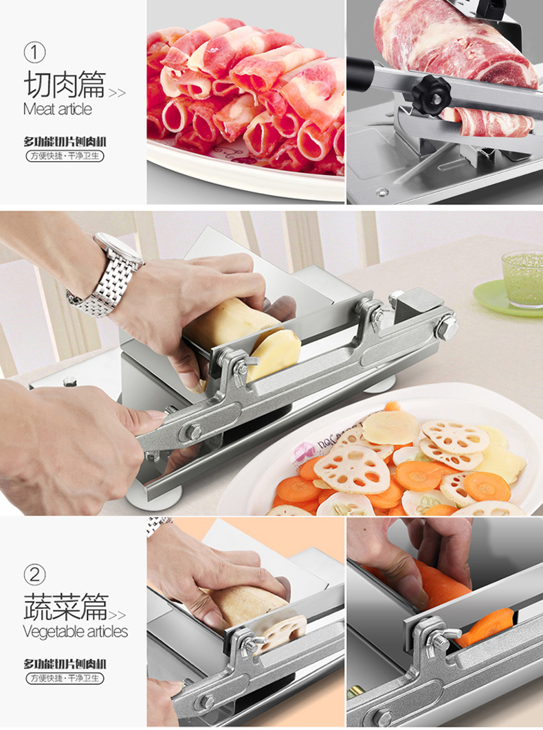 Household Manual Operation Shaving Machine Mutton Cut Volume Fertilizer Cattle Volume Commercial Small-sized Cut Meat Machine 16