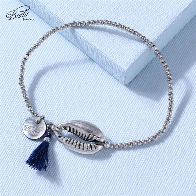 Badu Silver Shell Bracelet for Women Alloy Beads Elastic String Cotton Tassel Pendant Handmade Charming Bracelets Wholesale