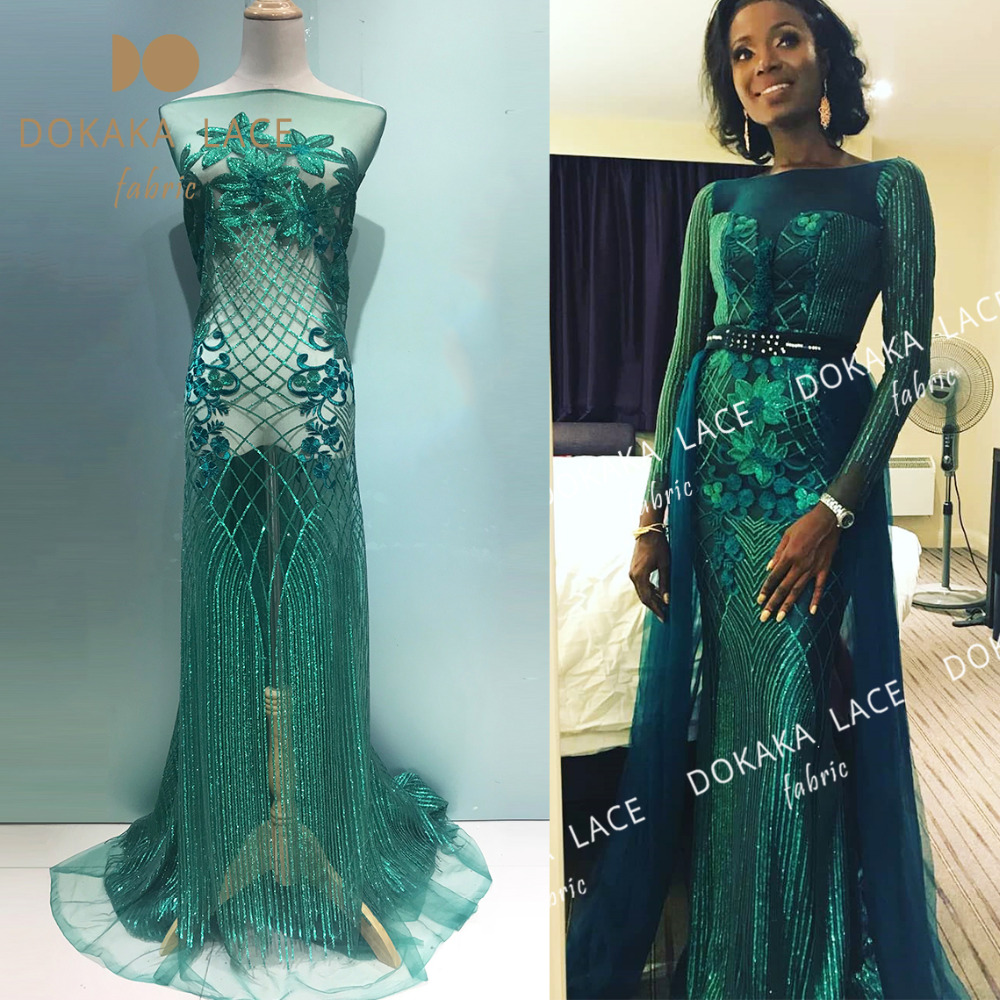 Fringe Design 2018 New Arrival African Sequins Lace Fabric High Quality Sequined Nigerian Green Wedding Dresses