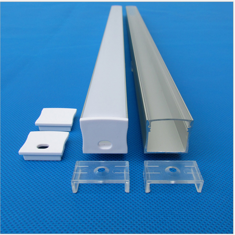 5-30pcs/lot 40inch 1m W23.5*H20.5MM flat aluminum profile for double row led strip,milky/transparent cover channel for 20mm pcb 5 30 pcs lot 1m aluminum profile for led strip milky transparent cover for 12mm pcb with fittings embedded led bar light